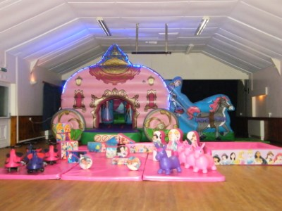 Royal Princesses Carriage Bouncy Castle with Soft Play
