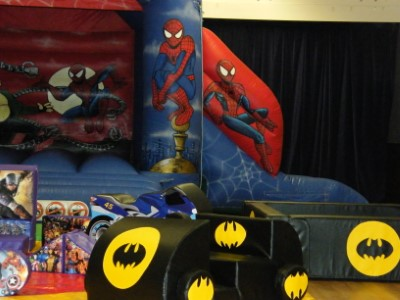 Spider N Villains Bouncy Castle with small Slide and Soft Play Shapes