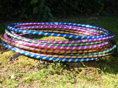 Hula Hoops with bright colourful spiral glitter design