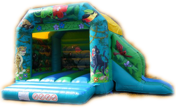 Jungle Madness Combined Bouncy Castle & Slide
