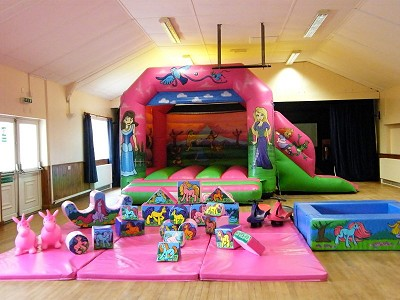 Palace Princesses Castle with small Slide on side and Unicorns Soft Play