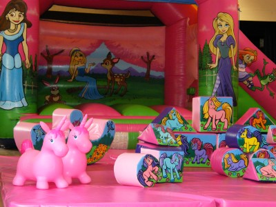 Palace Princesses Castle with smll Slide on side and Unicorns Soft Play